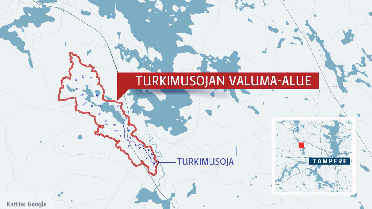 kartta Turkimusojan valuma-alueesta