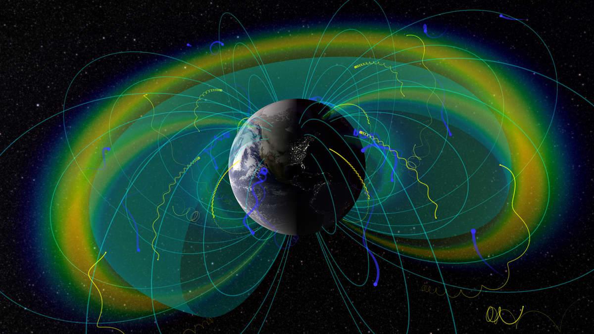 Visualisaatio maata kiertävistä radioaalloista ja plasmapausseista.