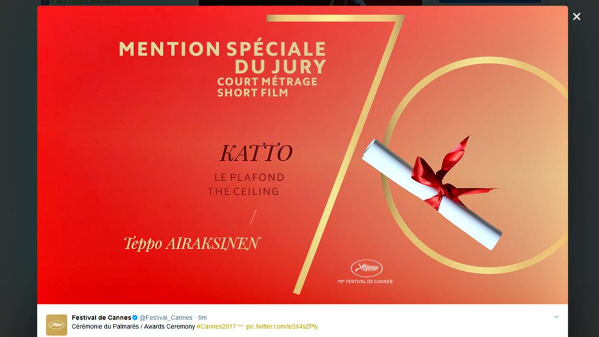 Teppo Airaksisen lyhytelokuva Katto sai erikoismaininnan.