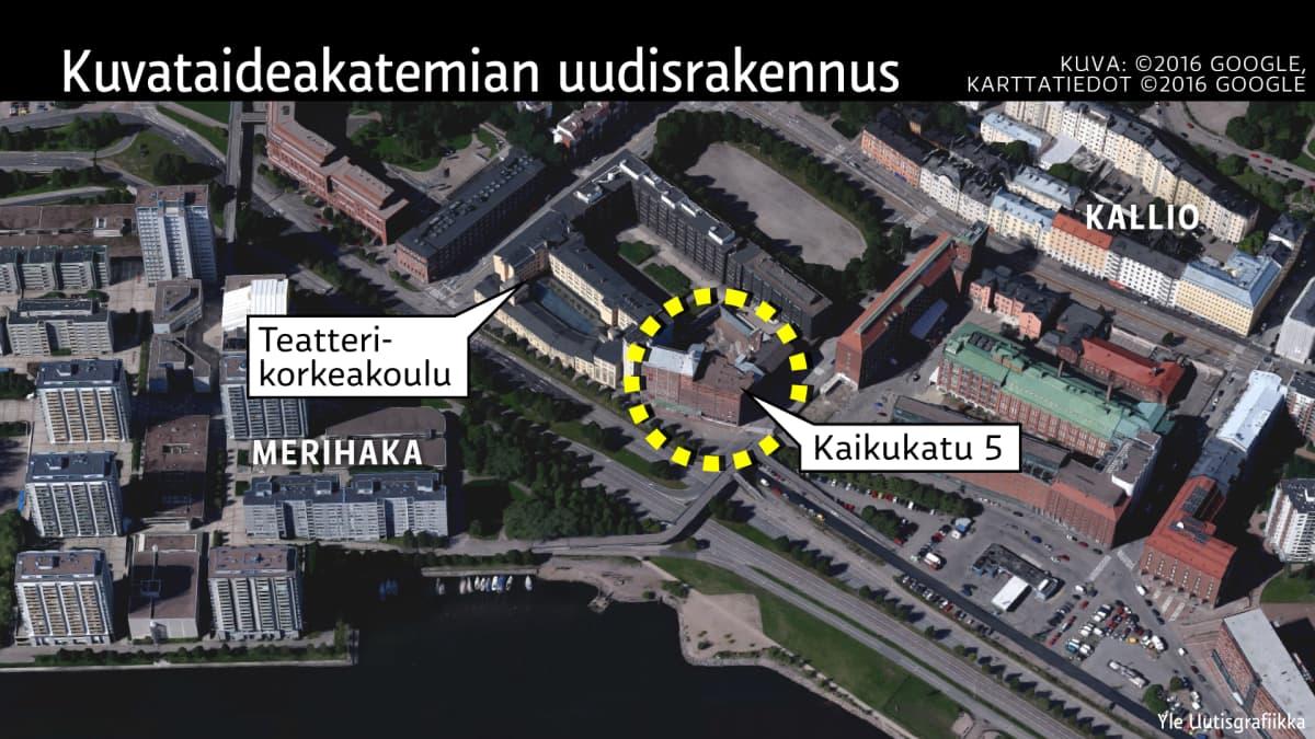 Kuvataideakatemian uudisrakennuksen sijainti Helsingissä