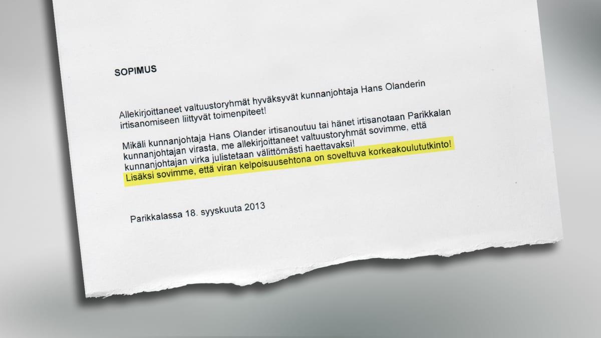 Asiakirja, jonka Parikkalan valtuustoryhmät allekirjoittivat