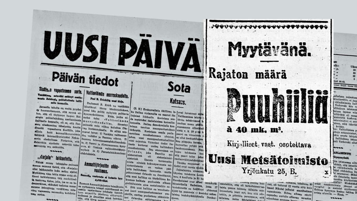 Sanomalehti-ilmoitus Uusi Päivää lehdestä.