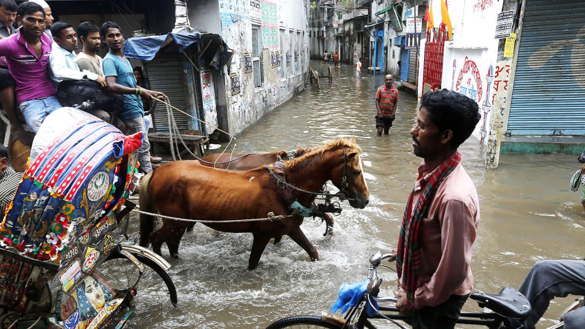 Ihmisiä kulkemassa tulvivilla kaduilla Dhakassa, Bangladeshissa.