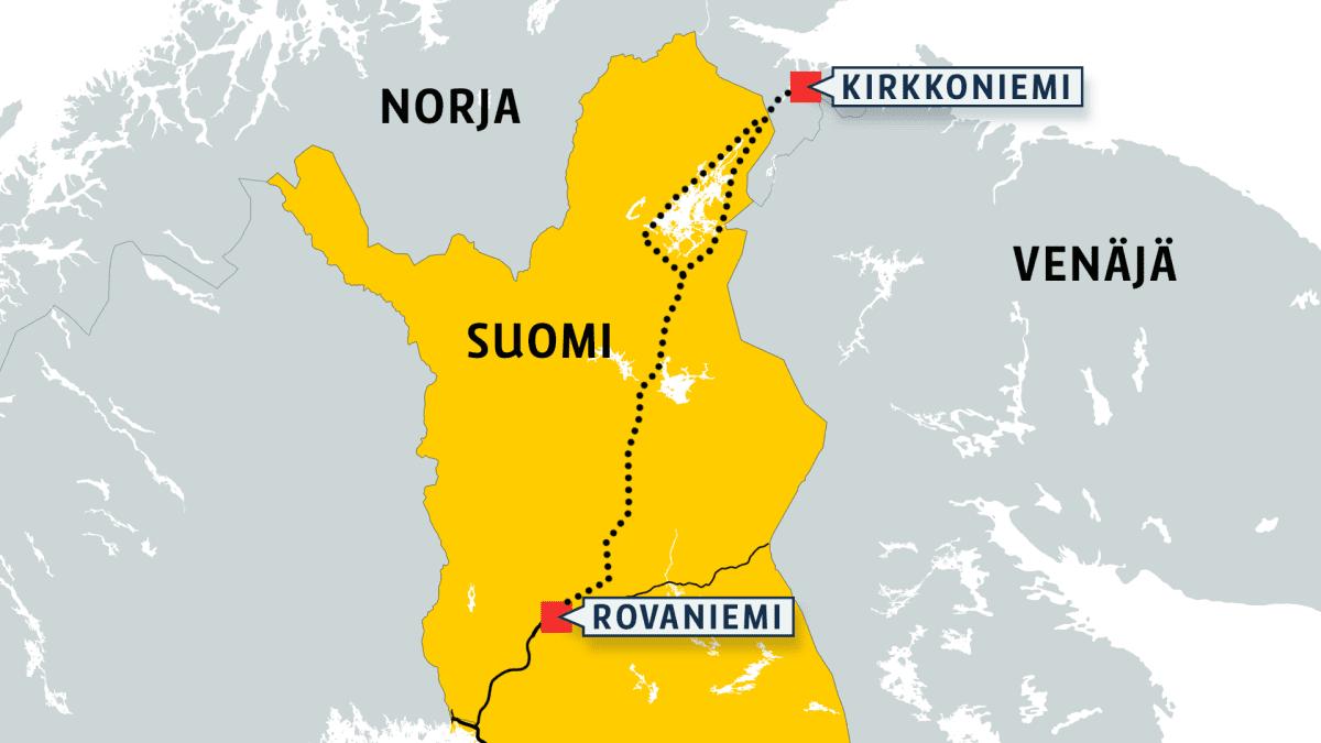 Kartta Jäämeren radan linjauksista.