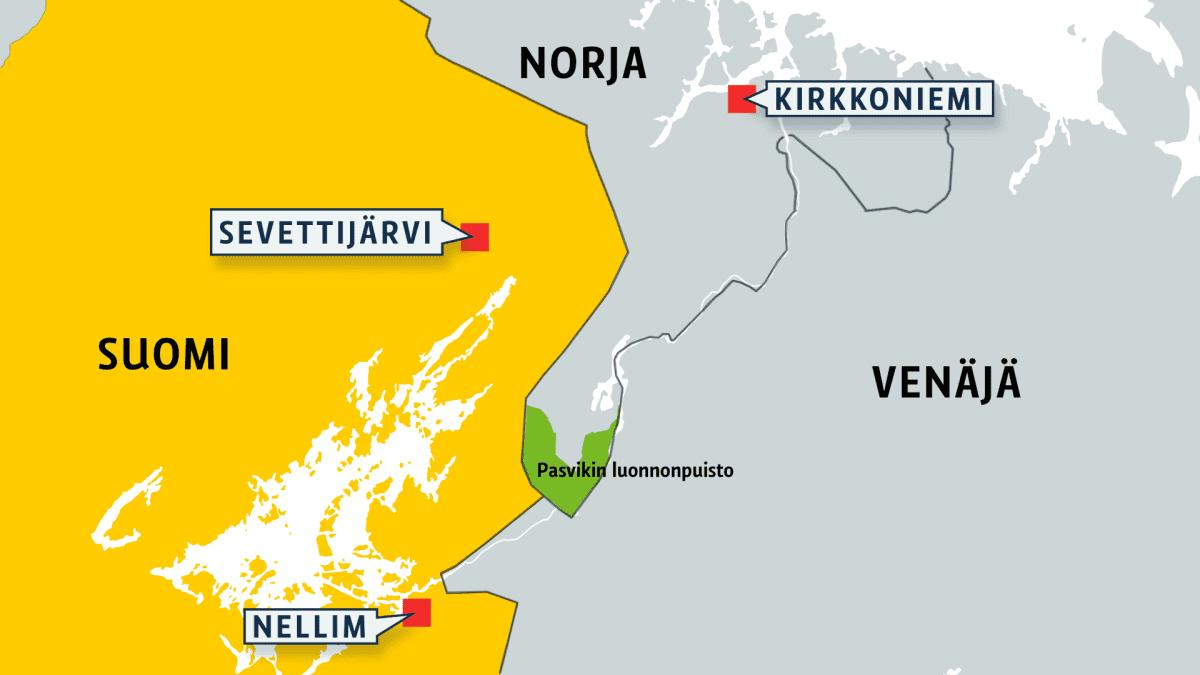 Kartta Pasvikin luonnonpuistosta.