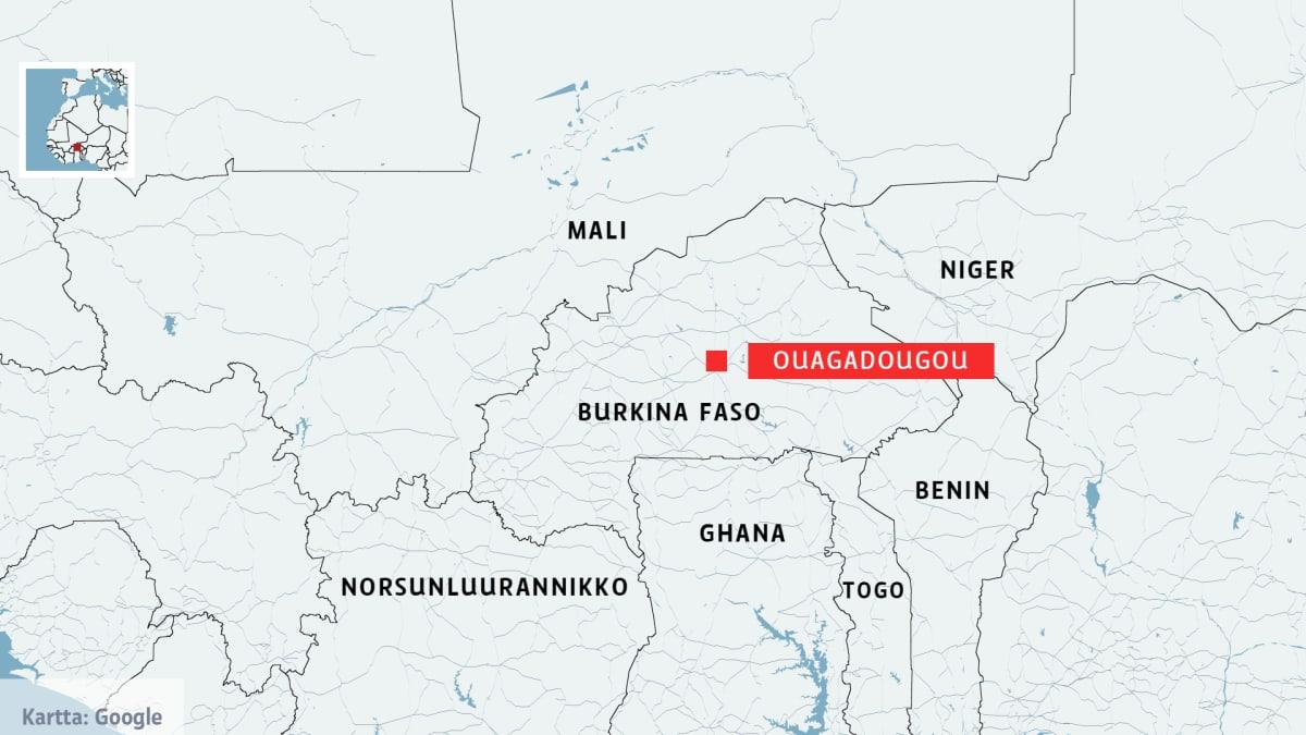 Burkina Fason kartta.