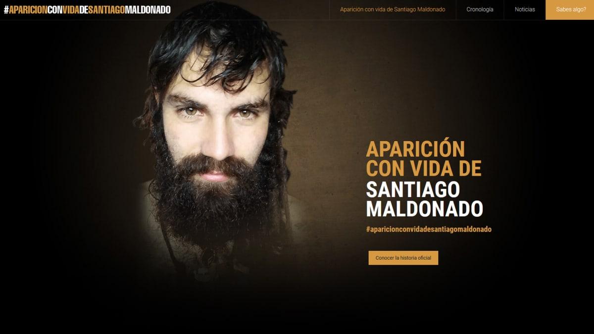 Kuvakaappaus santiagomaldonado.com -nettisivuilta.