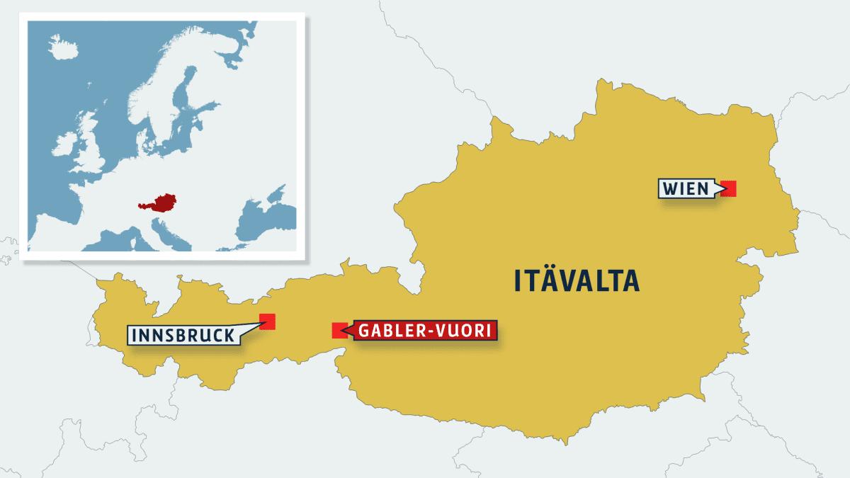 Kartta Itävallasta.