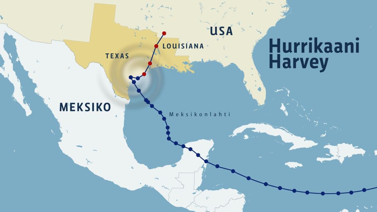Kartta hurrikaani Harveyn reitistä