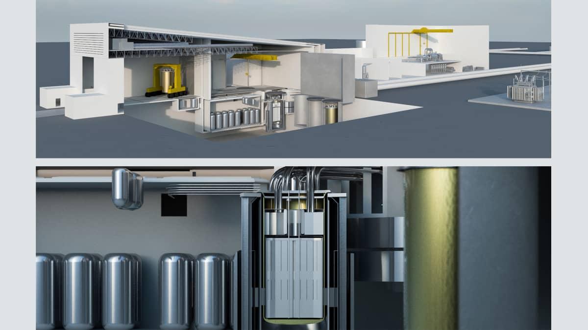 Havainnekuva pienreaktroista (yläkuva) ja yksityiskohta reaktorista (alakuva).