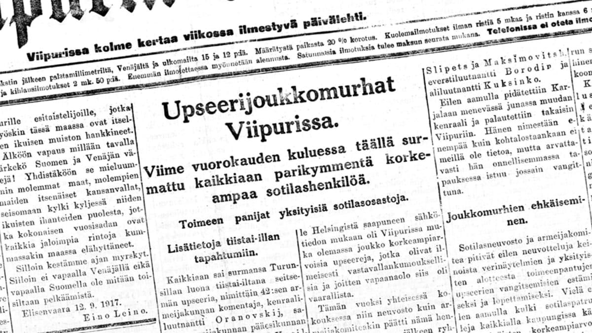 Artikkeli Viipurin Sanomissa.