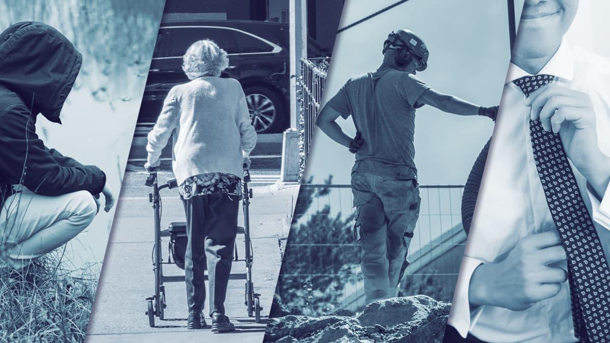 Kuvituskuva, jossa on hahmoina työtön, eläkeläinen, työntekijä ja työnantaja