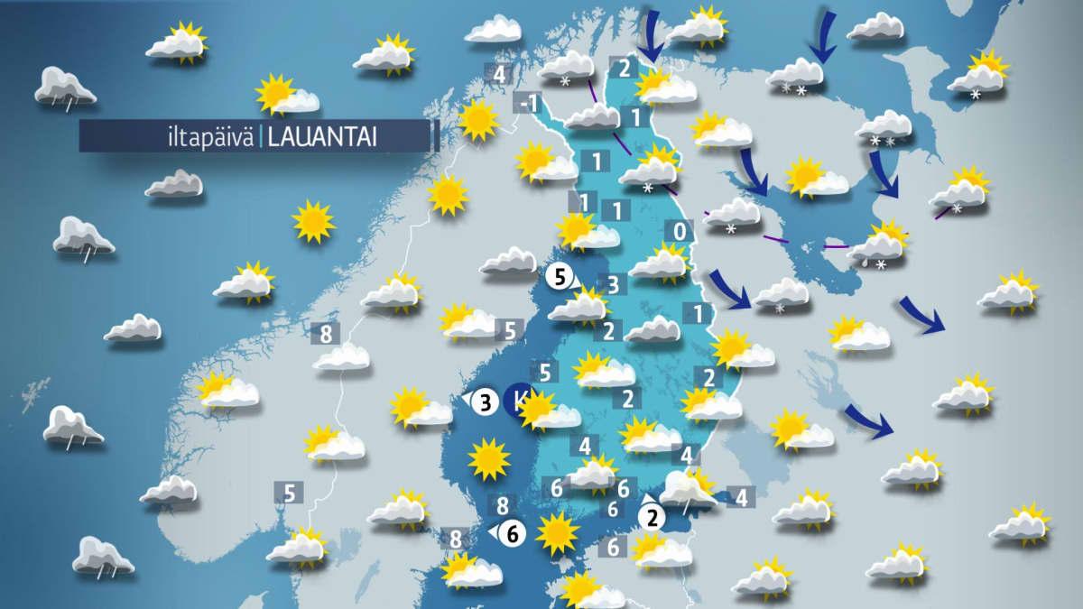 Sääkartta lauantaille 21. lokakuuta.