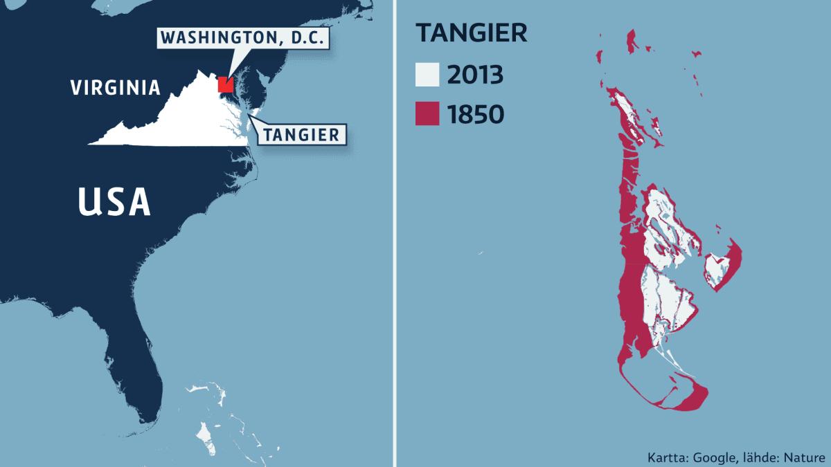 Yhdysvaltojen kartta ja Tangier-saari.