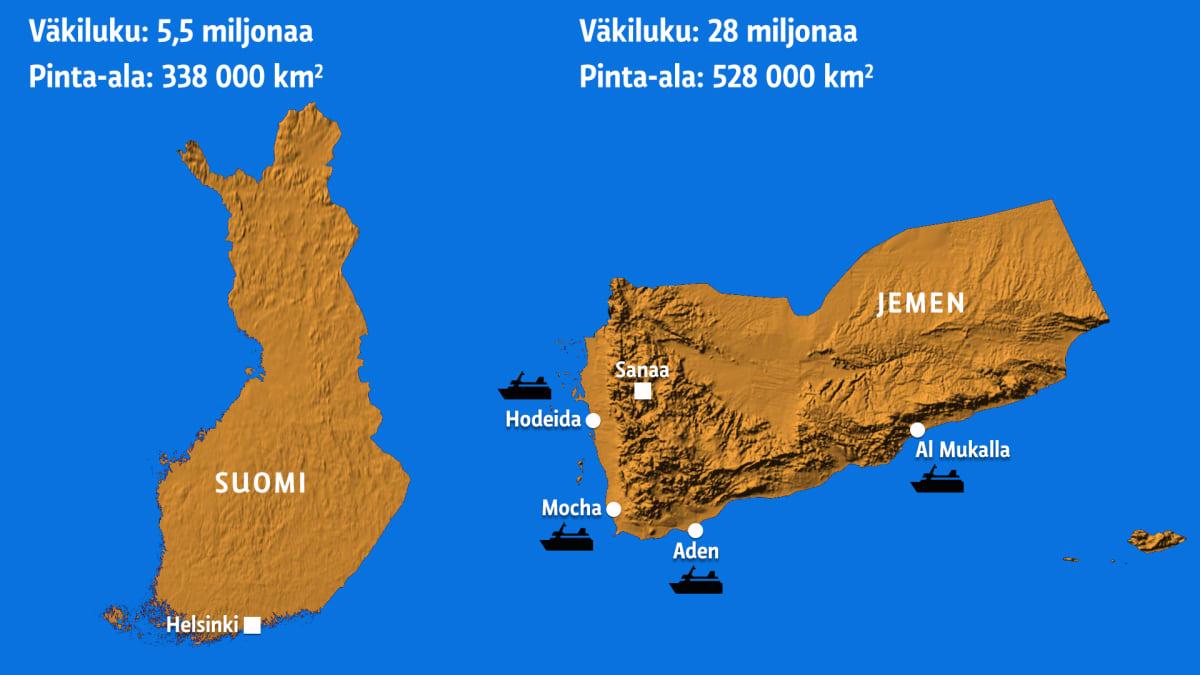 Suomen ja Jemenin kartat vierekkäin.