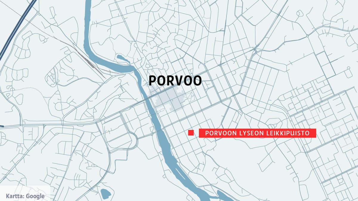 Kartta Porvoon Lyseon leikkipuisto