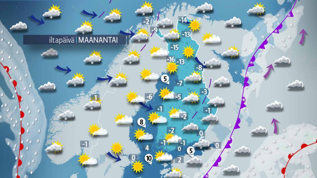 Sääkartta maanantaille 4. joulukuuta.