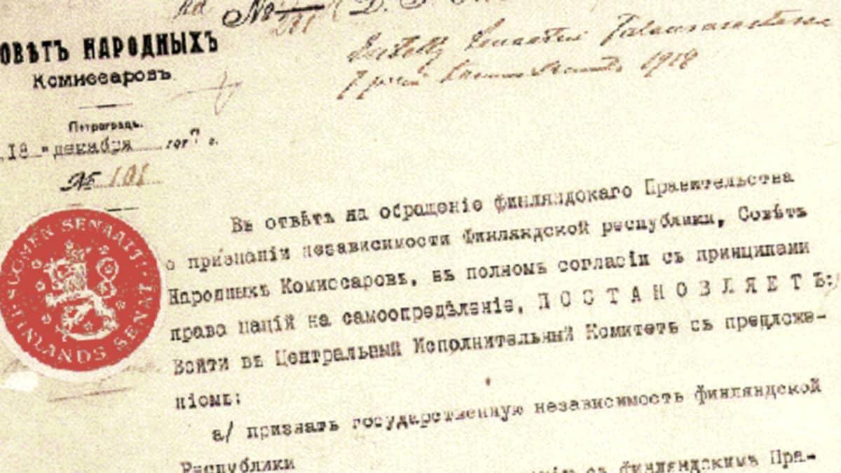 Suomen itsenäisyyden tunnustus.