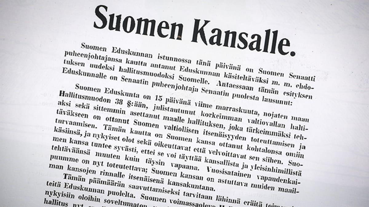 Suomen itsenäisyystunnustus.