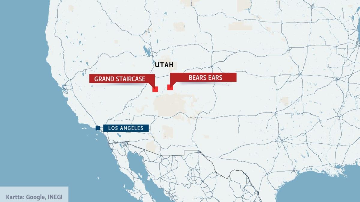 kartta jossa Utah ja luonnonpuistot