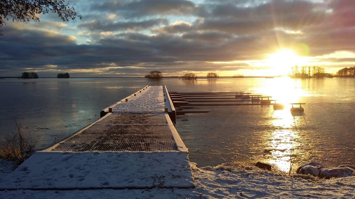 Talvinen rantamaisema Säkylästä.