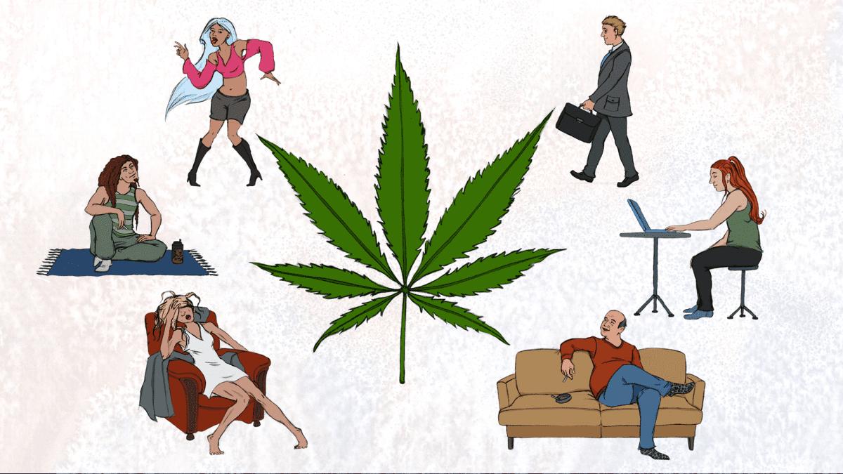 Huumeiden viihdekäyttäjien eri tyyppejä, piirros