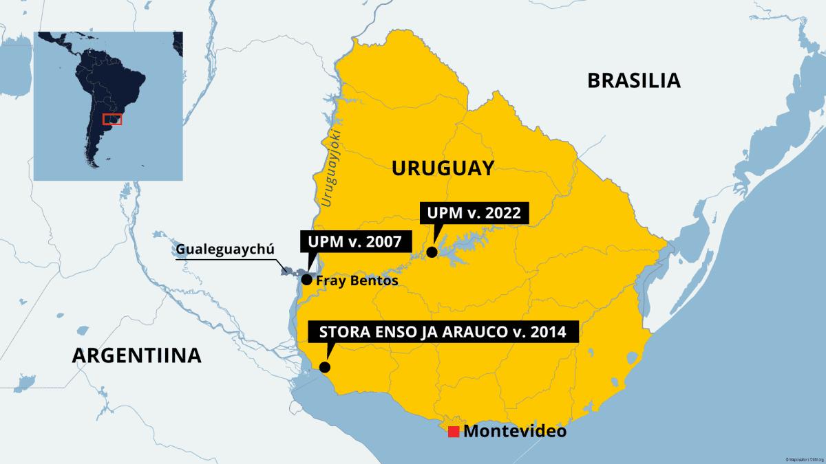 UPM:n, Stora Enson ja Araucon tehtaiden sijainti Uruguayssa.