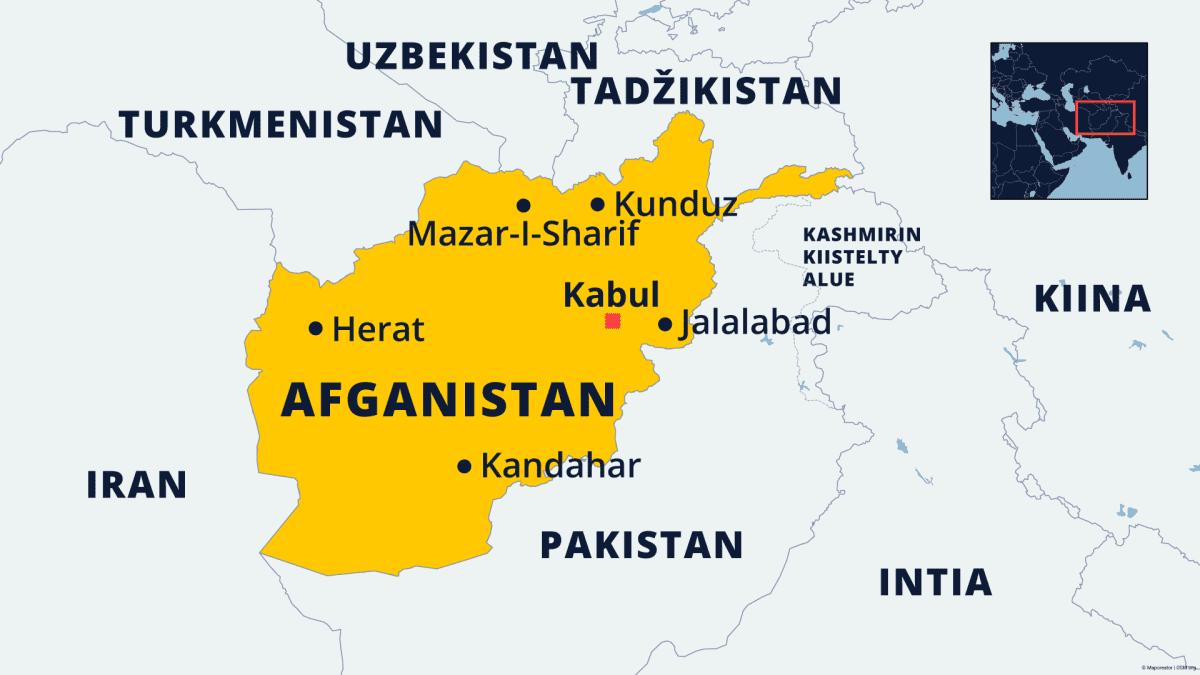 Afganistan ja naapurimaat kartalla