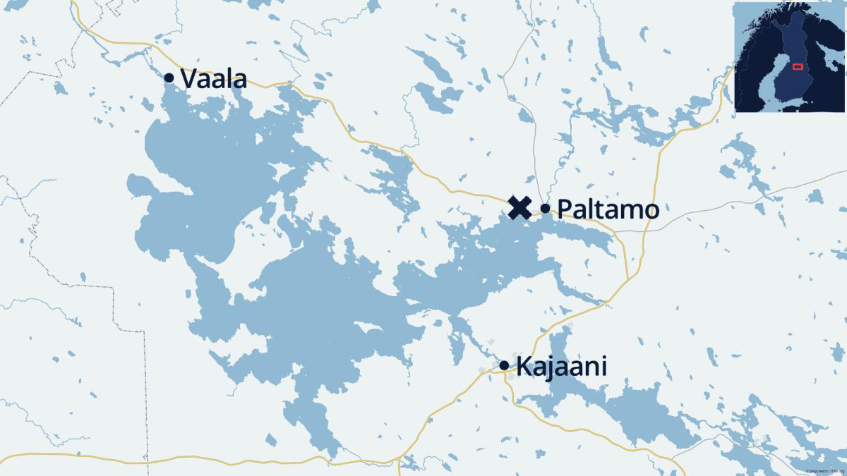Karttalla onnettomuuspaikka Vaalan ja Paltamon välillä