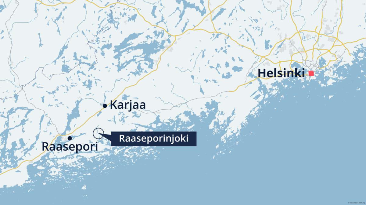 Raaseporinjoki kartalla