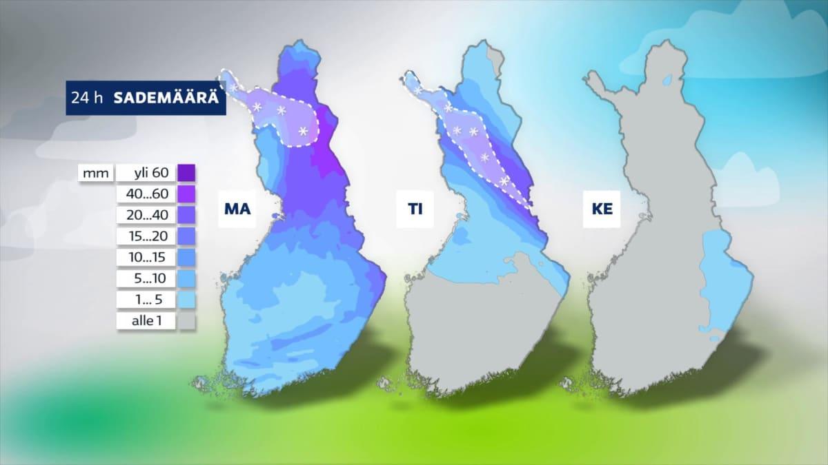 Kartta sademääristä.