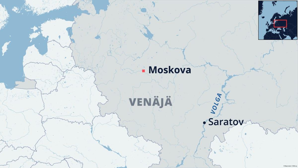 Venäläinen kaupunki Saratov merkittynä kartalle.