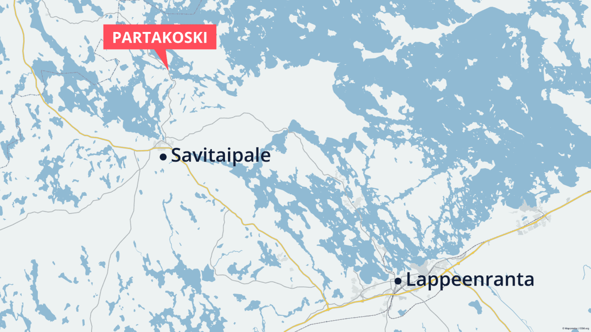 Kartta, Partakosken vesistöalue, Savitaipale ja Lappeenranta.