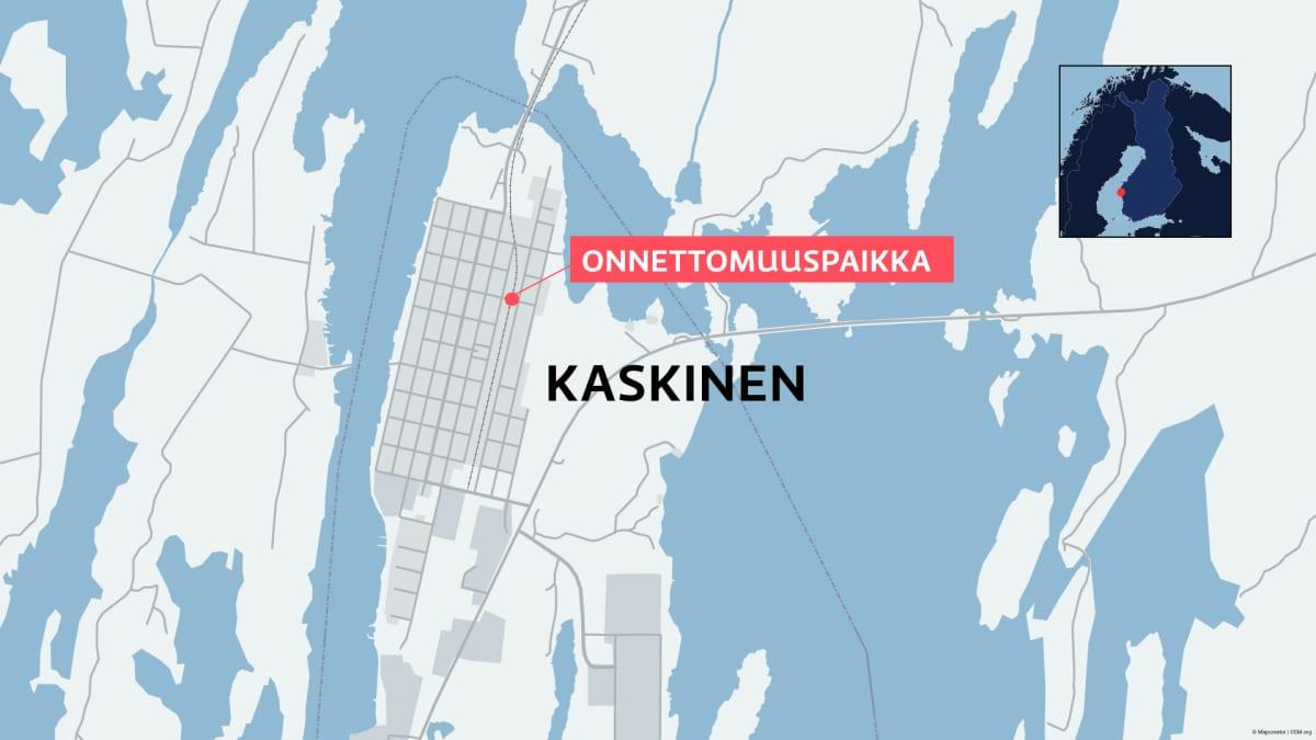Kaskisten kartta, johon on merkitty onnettomuuspaikka
