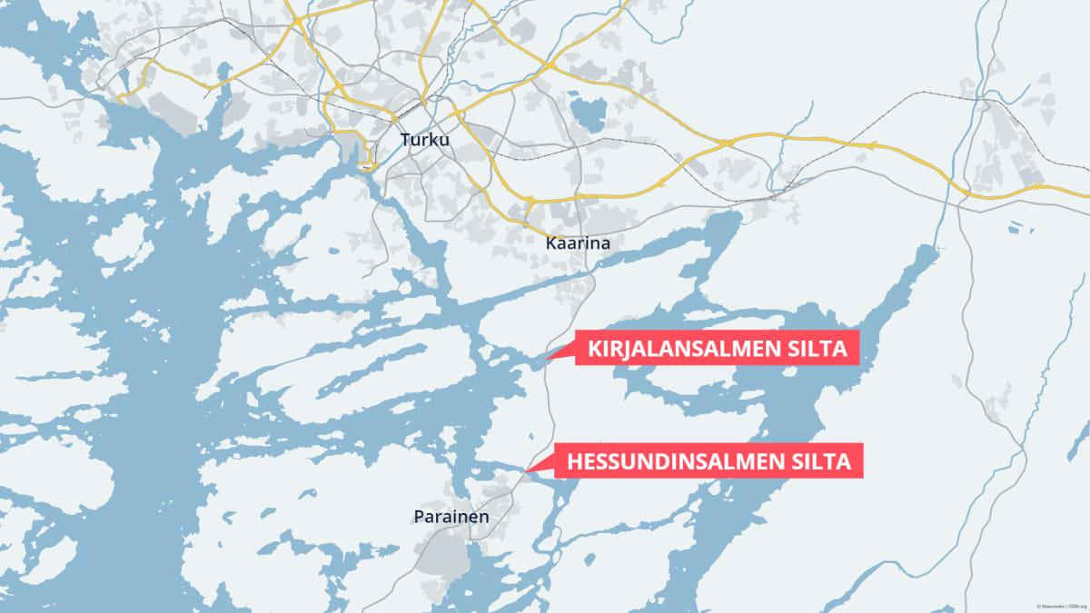 Karttagrafiikka Kirjalansalmen sillan ja Hessundinsalmen sillan sijainnista