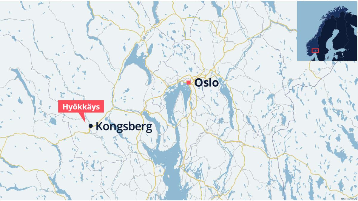 Hyökkäys Kongsbergin kaupungissa Norjassa.