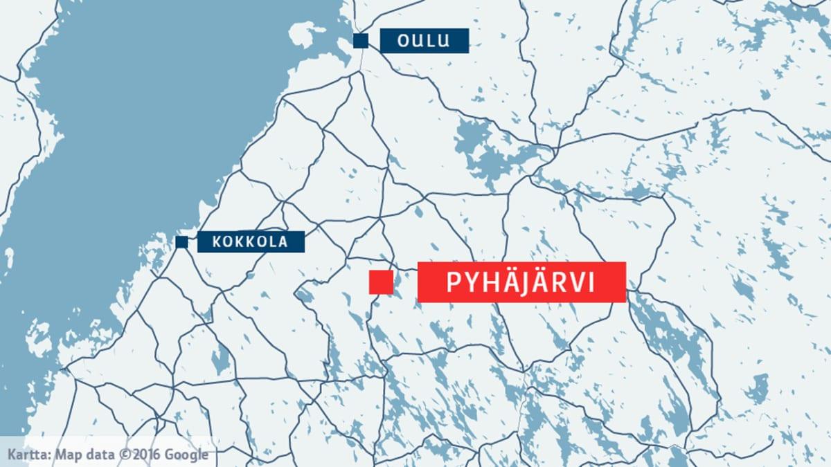 Linja-auto suistui tieltä valtatiellä 4 Pyhäjärvellä yölllä 29.1.2016.