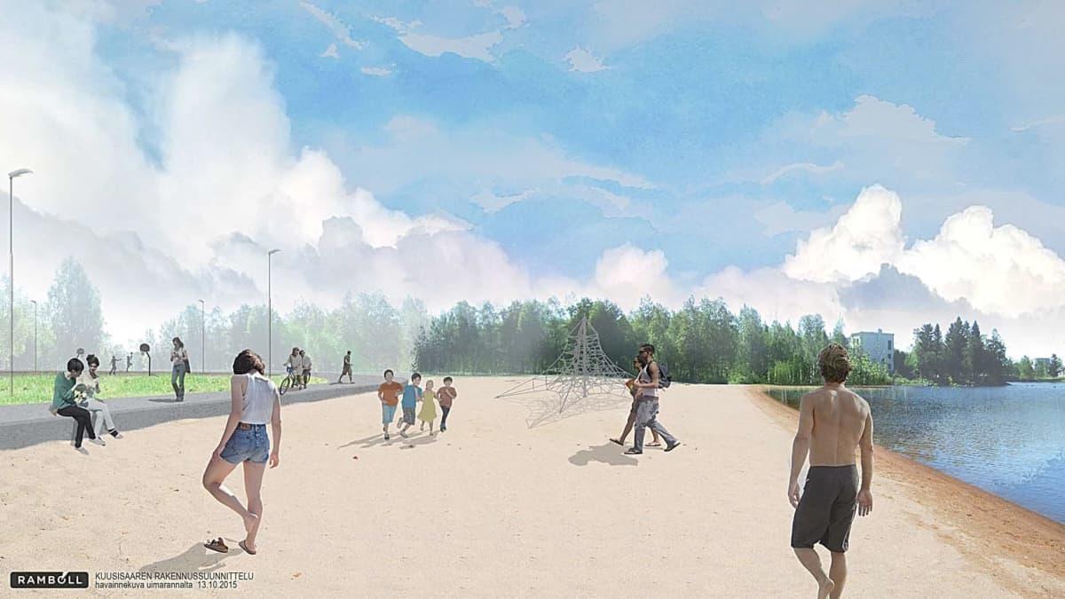 Iltapäiväauringon puolelle Kuusisaareen kunnostetaan hiekkaranta.