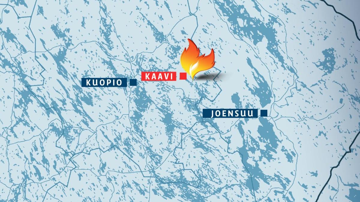 Karttakuva Kaavin Luikonlahden tulipalon sijainnista.