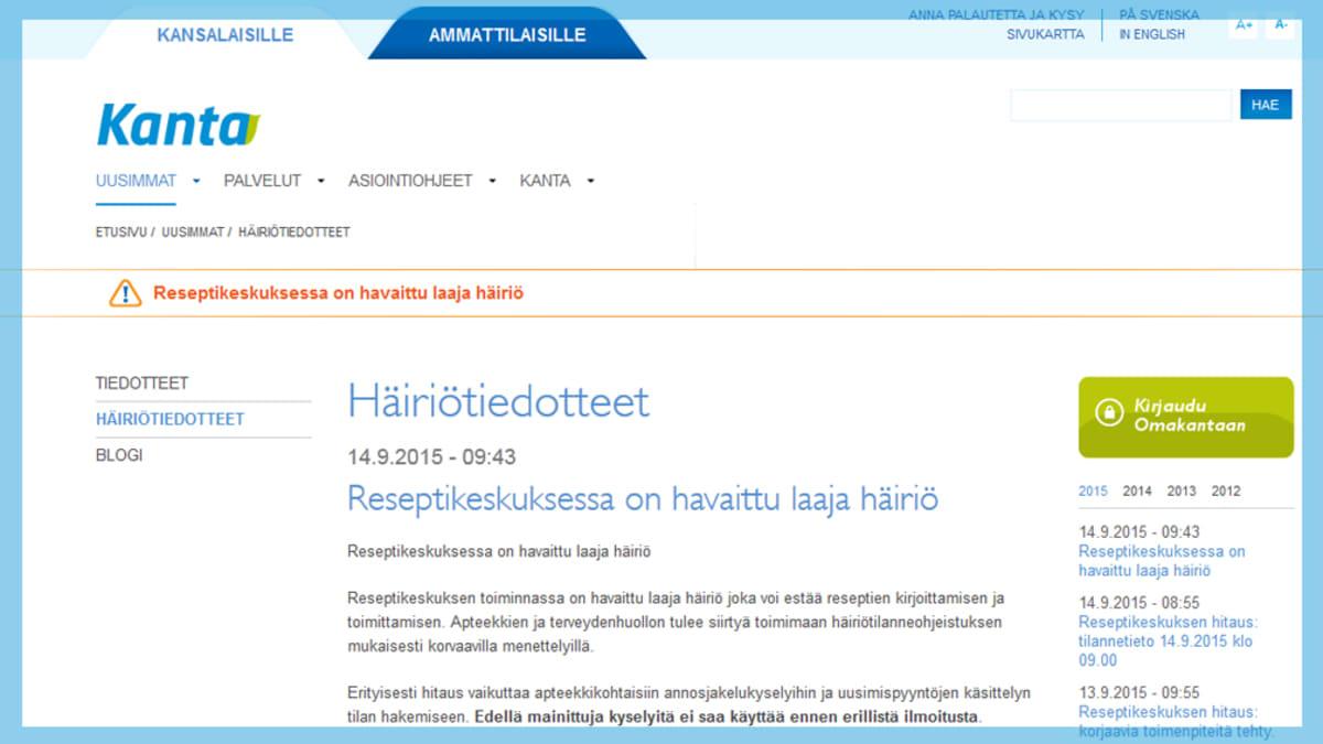 Kuvakaappaus Kanta.fi -nettisivuilta.
