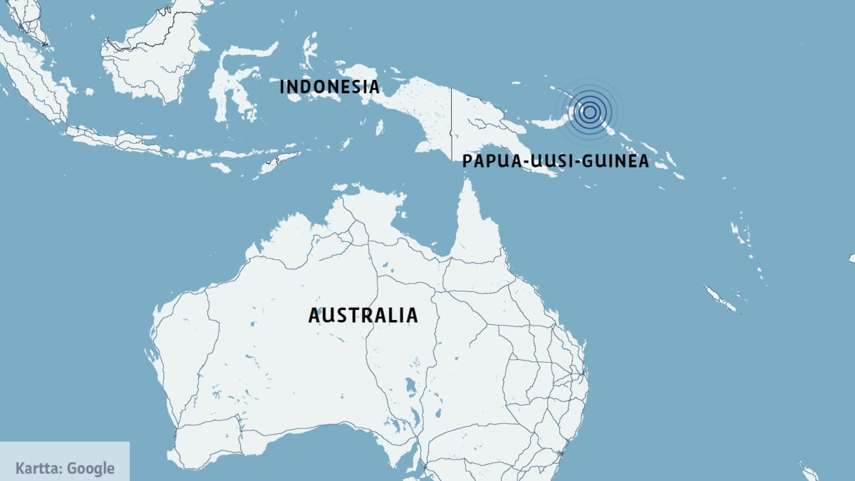 Kartta, johon on merkitty Indonesia, Papua-Uusi-Guinea ja Australia.