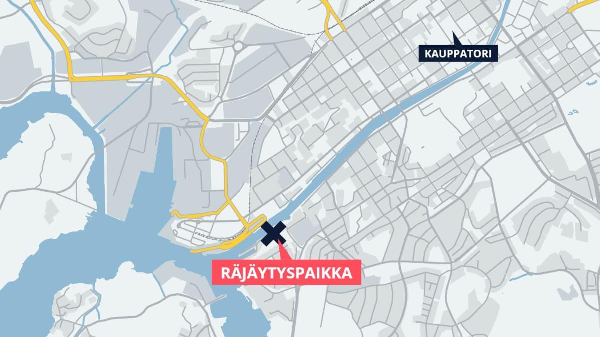 Kartta räjäytyspaikasta
