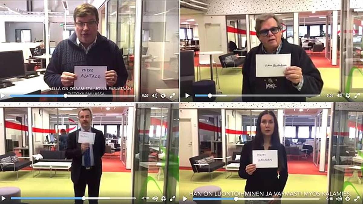 Arto Satonen, Mikko Alatalo, Arto Pirttilahti ja Tiina Elovaara näyttävät äänestystulokset.