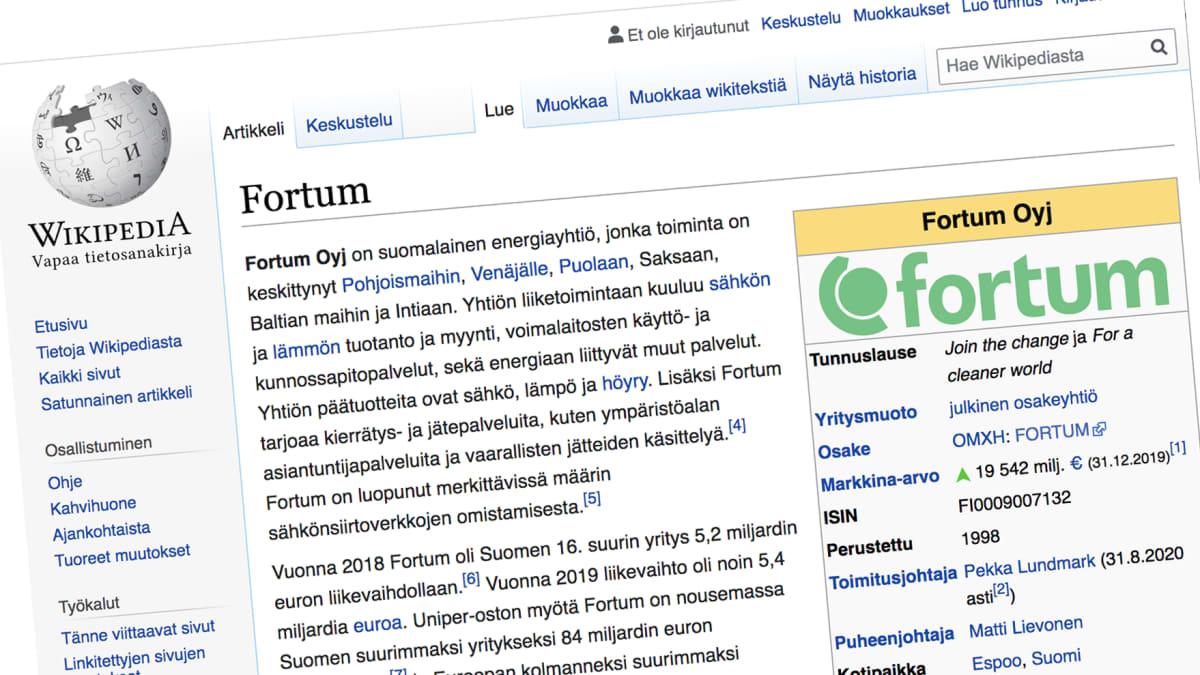 Fortumin sivu Wikipediassa