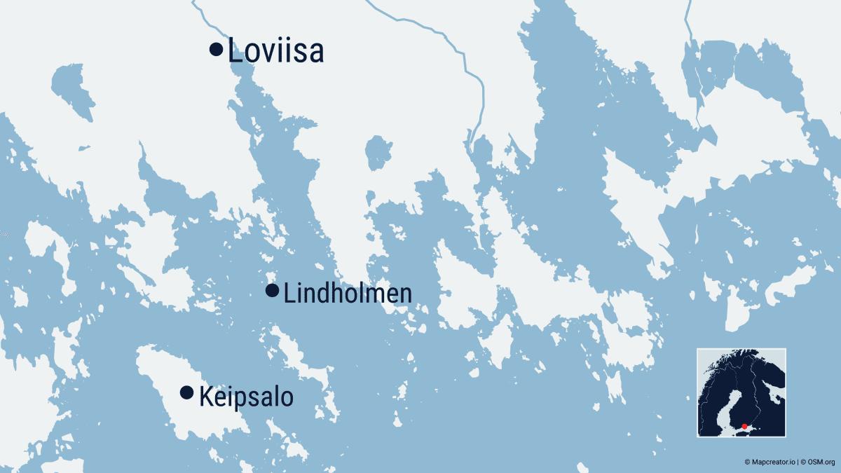 Kuvassa on Loviisan edustalla olevan merialueen kartta.