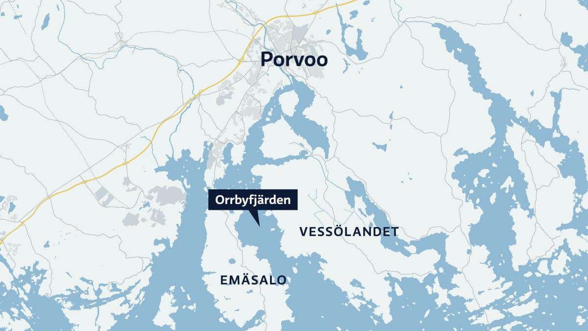 Kartta Porvoon veneonnettomuudesta