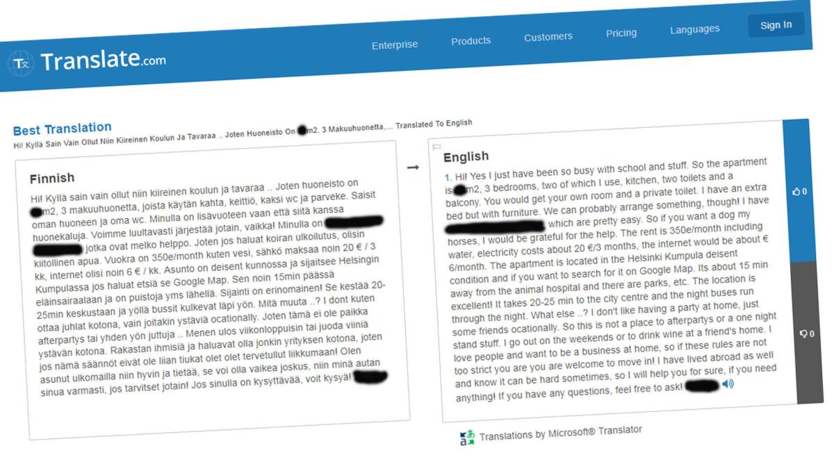Kuvakaappaus Translate.com -sivustosta.