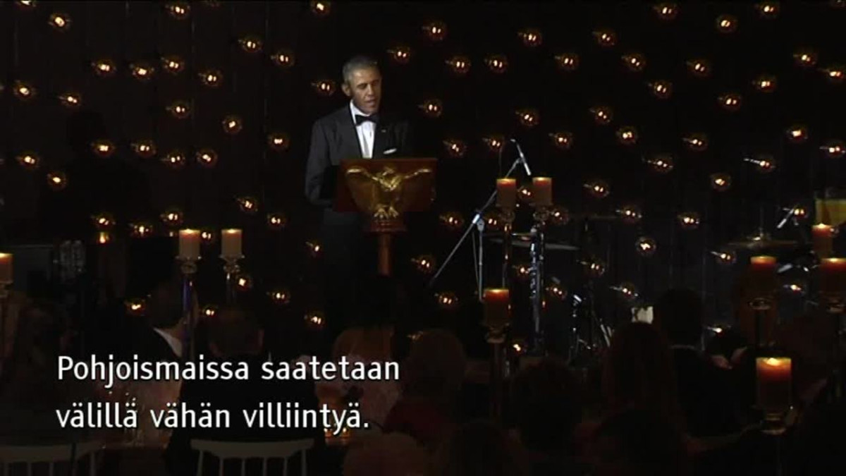 Uutisvideot: Obama vitsaili maljapuheessaan Pohjoismaista