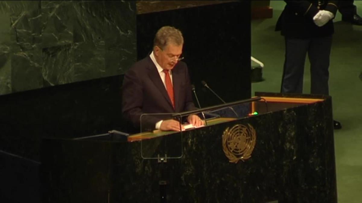 Uutisvideot: Presidentti Niinistön puhe YK:n yleiskokouksessa