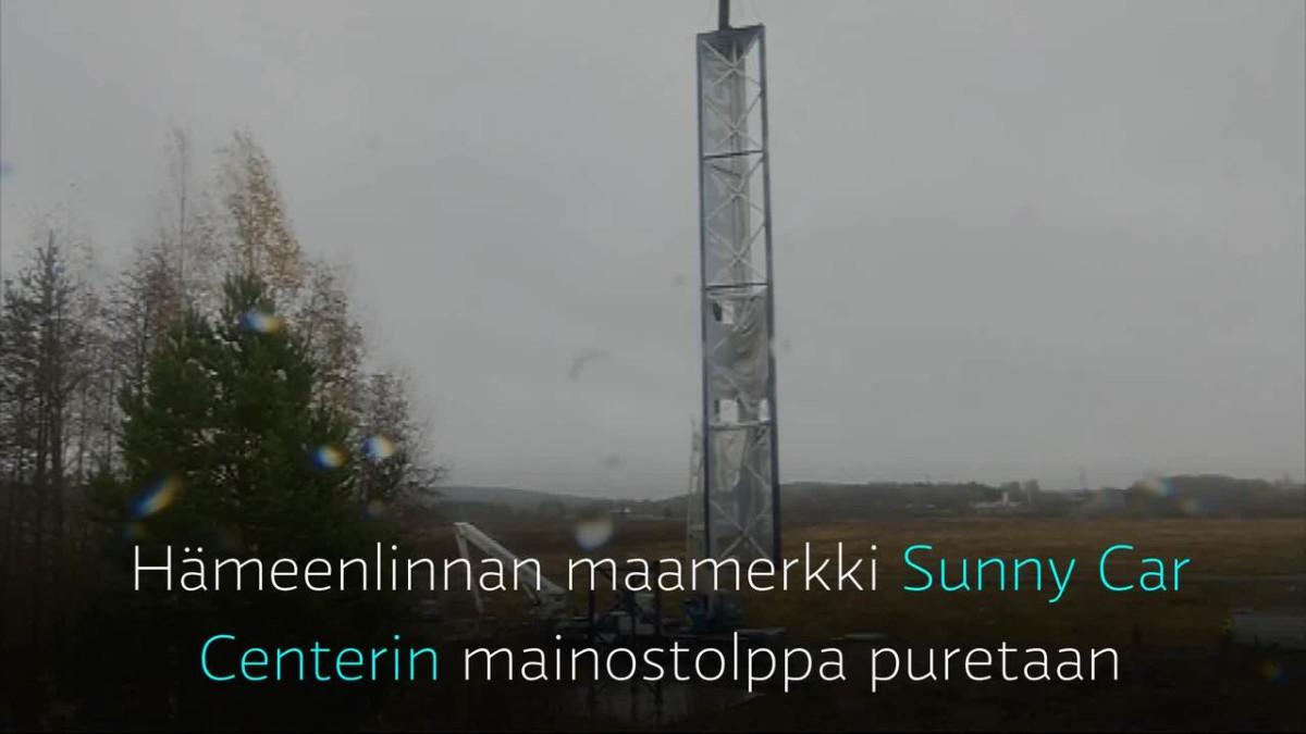 Yle Uutiset Häme: Sunny Car Centerin mainostolppa puretaan